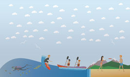 Extreme water sports, outdoor games concept vector illustration, flat style. Stock Photography