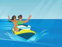 Extreme watercraft. Smiling couple rides extreme watercraft in the bright seaside Royalty Free Stock Photos
