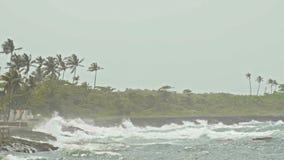 Extreme wave crushing coast, caribbean sea, slow-motion stock video