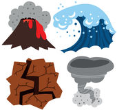 Extreme Weather Set. Volcano, Tsunami, Earthquake and Tornado Royalty Free Stock Photography