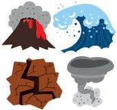 Extreme Weather Set. Volcano, Tsunami, Earthquake and Tornado Royalty Free Stock Photography