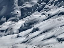 Extreme weather on slope for down hill skiing, freeride terain. Royalty Free Stock Photos