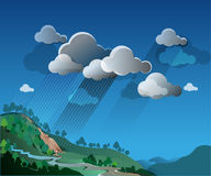 Extreme weather. Vector illustrations, extreme weather, rain and landslides in the hills Stock Images