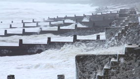 Extreme weather - wind and sea foam stock video