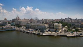 Extreme Wide Aerial View of Havana Cuba Harbor Bay Pier. 8922 An extreme wide aerial establishing shot of the Port of Havana, Cuba on a sunny summer day stock footage