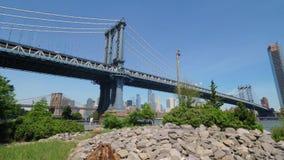 Extreme Wide Angle Establishing Shot of Manhattan Bridge and Skyline. An extreme wide angle establishing shot of the Manhattan Bridge with the New York City stock video