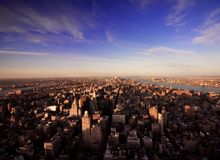 Extreme Wide Angle Of Manhattan New York Stock Photo