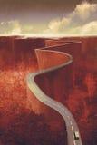 Extreme windende weg met klip stock illustratie