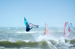 Extreme windsurfing. With very strong winds Stock Photography