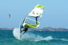 Extreme windsurfing stock photo