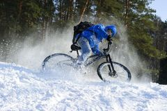 Extreme winter cycling stock image