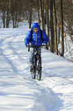 Extreme winter cycling Stock Images