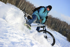 Extreme winter cycling Royalty Free Stock Photos