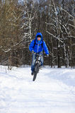 Extreme winter cycling royalty free stock images