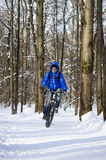 Extreme winter cycling royalty free stock image