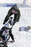 Extreme winter mountain bike contest Royalty Free Stock Photo