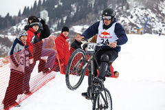 Extreme winter mountain bike contest Stock Image