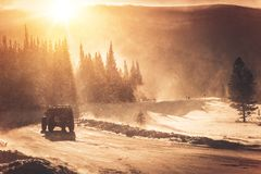 Extreme Winter Road Condition stock image