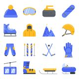 Extreme winter sport. Ski, snowboard and other equipment. Vector icon set in flat style Royalty Free Stock Photography