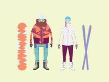 Extreme winter sports and adventure in mountains. Men and women with a snowboard and skis. Cartoon vector illustration Royalty Free Stock Photography