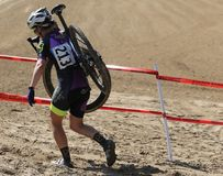 Extreme Womens Cyclo-cross in the sand Stock Photos