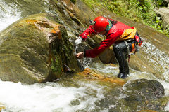Extreme Work On Canyoning Route Royalty Free Stock Images