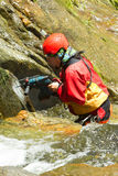 Extreme Work On Canyoning Route Stock Photo