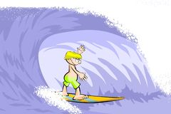 Extreme Young surfer man on surfboard riding the wave Royalty Free Stock Photography