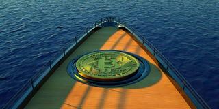 Extremeley детализировало и реалистическая иллюстрация 3D роскошной супер яхты транспортируя большое Bitcoin Стоковое Фото