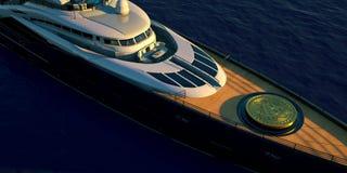 Extremeley specificerade och den realistiska illustrationen 3D av en lyxig toppen yacht som transporterar en stora Bitcoin stock illustrationer
