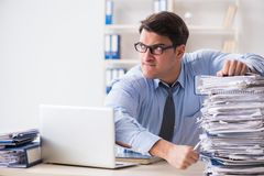 The extremely busy businessman working in office. Extremely busy businessman working in office Stock Image