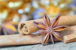 Extremely closeup view of anise star and cinnamon sticks Royalty Free Stock Image