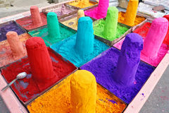 Extremely colored powders on sale in Pushkar, India Royalty Free Stock Photo