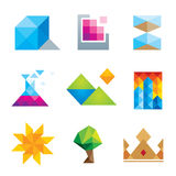 Extremely creative beautiful design polygons geometric art icon set Royalty Free Stock Photo