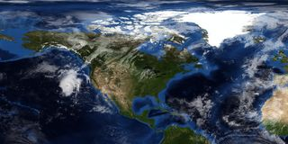 Extremely detailed and realistic 3D illustration of a Hurricane approaching North America. Shot from Space. Elements of this image. Are furnished by NASA stock photography