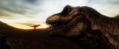 Extremely detailed and realistic high resolution 3d illustratation of a T-Rex Dinosaur during the Dinosaurs Extinction royalty free stock images