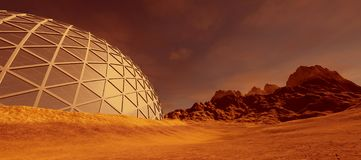 Extremely detailed and realistic high resolution 3d illustration of a colony on mars like planet. Elements of this image are furni. Shed by Nasa vector illustration