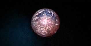 Extremely detailed and realistic high resolution 3D illustration an Exoplanet. Shot from space Stock Photo
