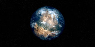 Extremely detailed and realistic high resolution 3D illustration of an Exoplanet. Shot from space Stock Photos