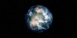 Extremely detailed and realistic high resolution 3D illustration of an Exoplanet. Shot from space Stock Photo