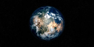 Extremely detailed and realistic high resolution 3D illustration of an Exoplanet. Shot from space Royalty Free Stock Photography