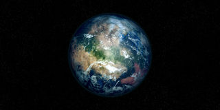 Extremely detailed and realistic high resolution 3D illustration of an Exoplanet. Shot from space Stock Photography