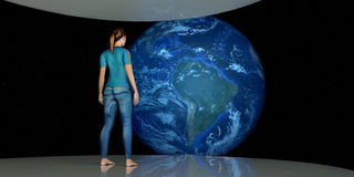 Extremely detailed and realistic high resolution 3D illustration of female Astronaut looking at Earth. Shot from Space. Royalty Free Stock Images