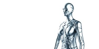 Extremely detailed and realistic high resolution 3d illustration of a humanoid android. Extremely detailed and realistic high resolution 3d illustration of a Royalty Free Stock Photos