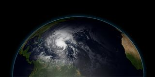 Extremely detailed and realistic high resolution 3D illustration of a hurricane  Royalty Free Stock Photography