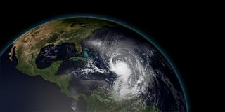 Extremely detailed and realistic high resolution 3D illustration of a hurricane. Approaching the Caribbean Islands. Shot from Space vector illustration