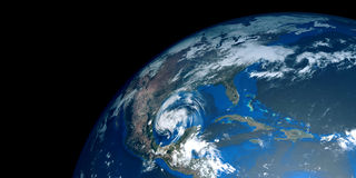 Extremely detailed and realistic high resolution 3D illustration of a hurricane approaching USA. Shot from Space. Elements of this image are furnished by Nasa Stock Images