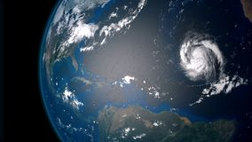 Extremely detailed and realistic high resolution 3D illustration of  a hurricane. In the atlantic ocean.. Shot from Space Royalty Free Stock Photo