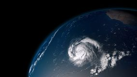 Extremely detailed and realistic high resolution 3D illustration of  a hurricane. In the atlantic ocean.. Shot from Space Royalty Free Stock Photography