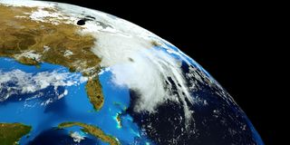 Extremely detailed and realistic high resolution 3D illustration of Hurricane Florence hitting the US East Coast. Shot from Space. Extremely detailed and stock illustration